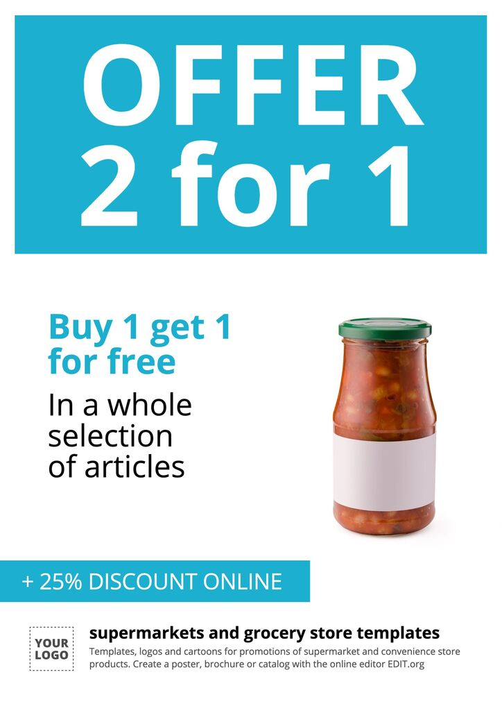 Grocery store free editable online template for product offer