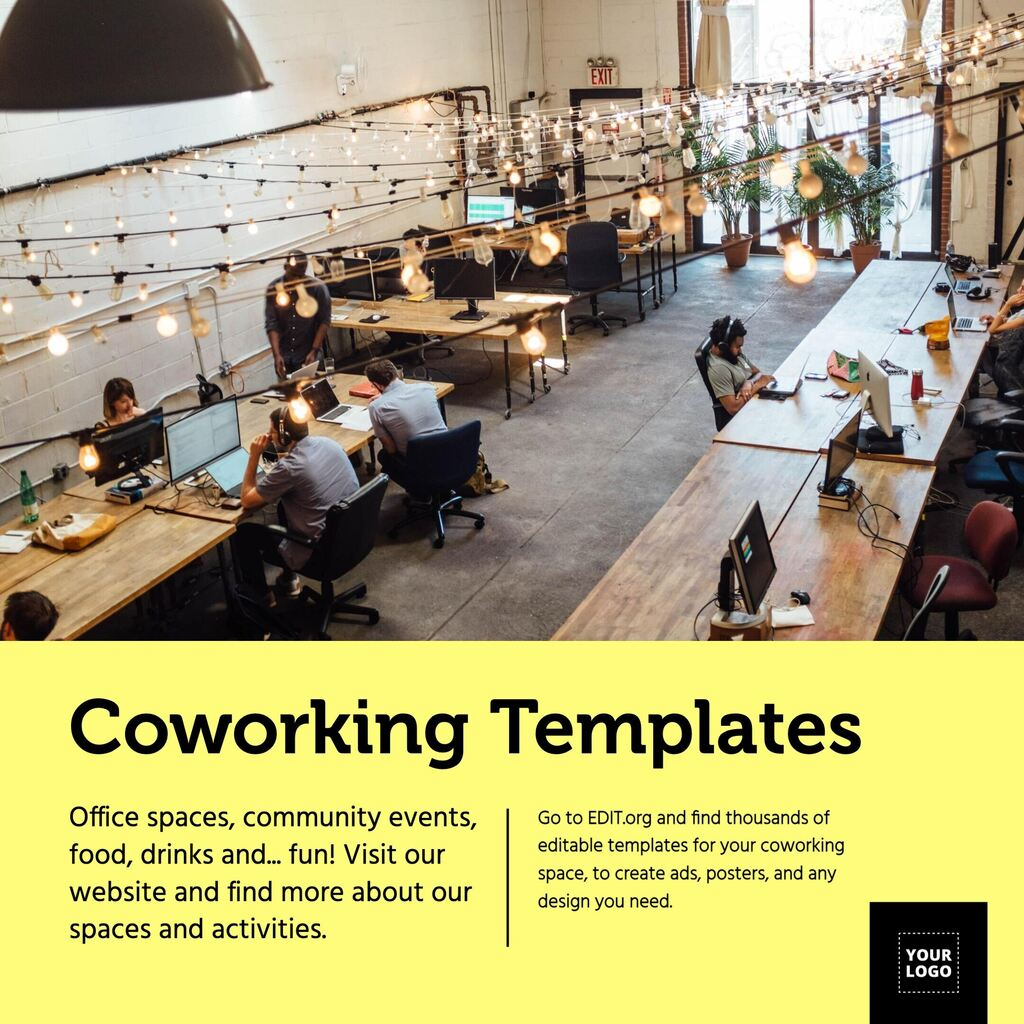 Editable template for coworking spaces to edit online
