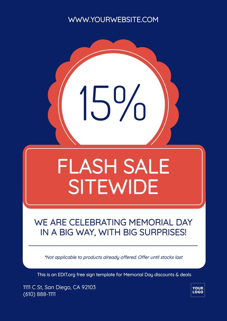 Custom templates for Memorial Day promotions and discounts