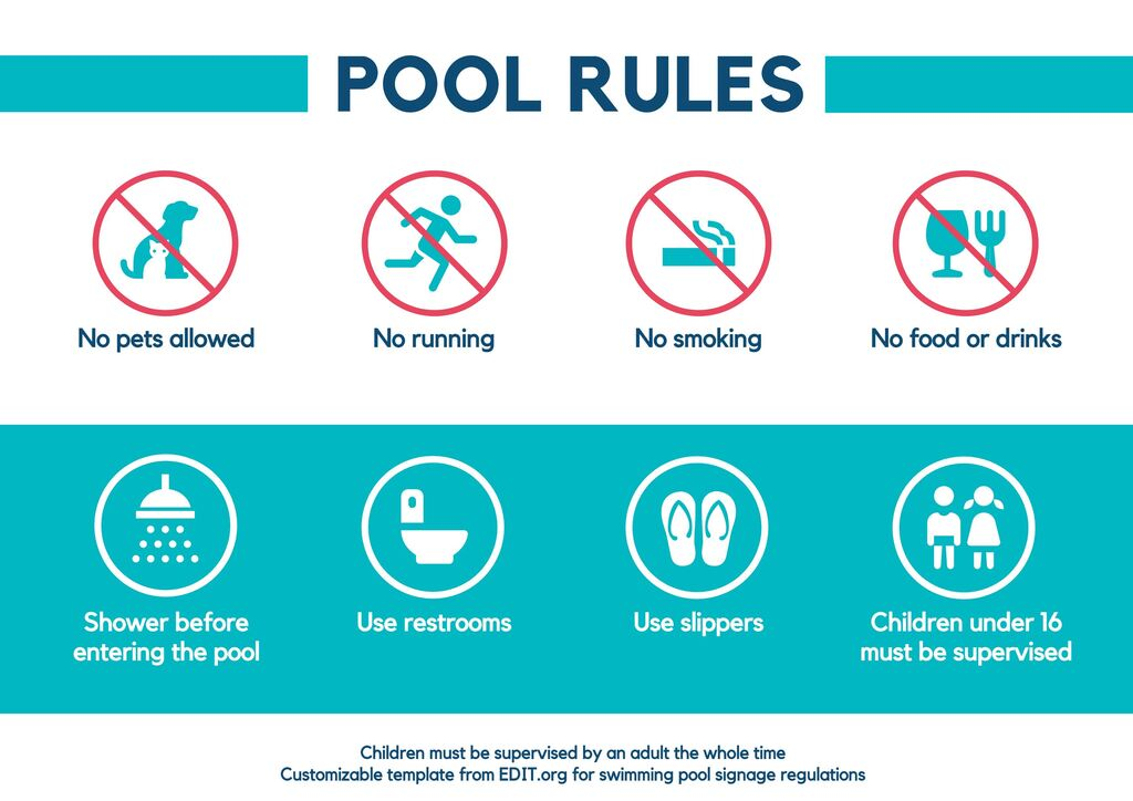 Pool rules and regulations signs