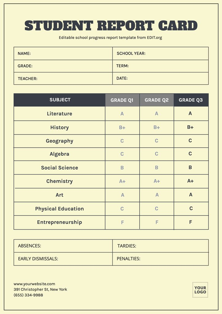 Editable school report card template for students