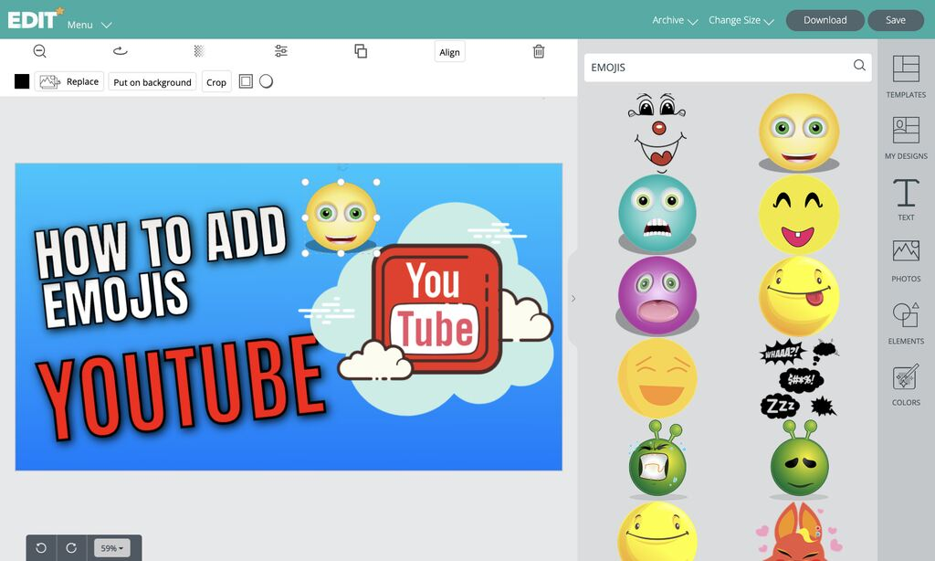 Editor to add emojis to your youtube thumbnails for free