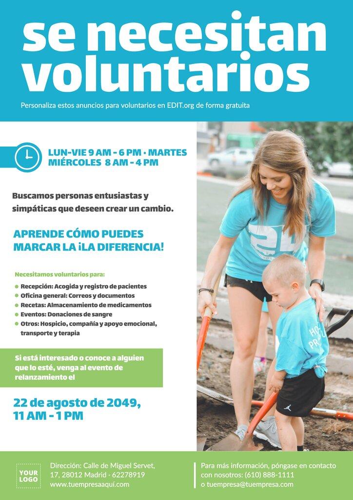 Plantillas gratuitas de anuncios para voluntarios