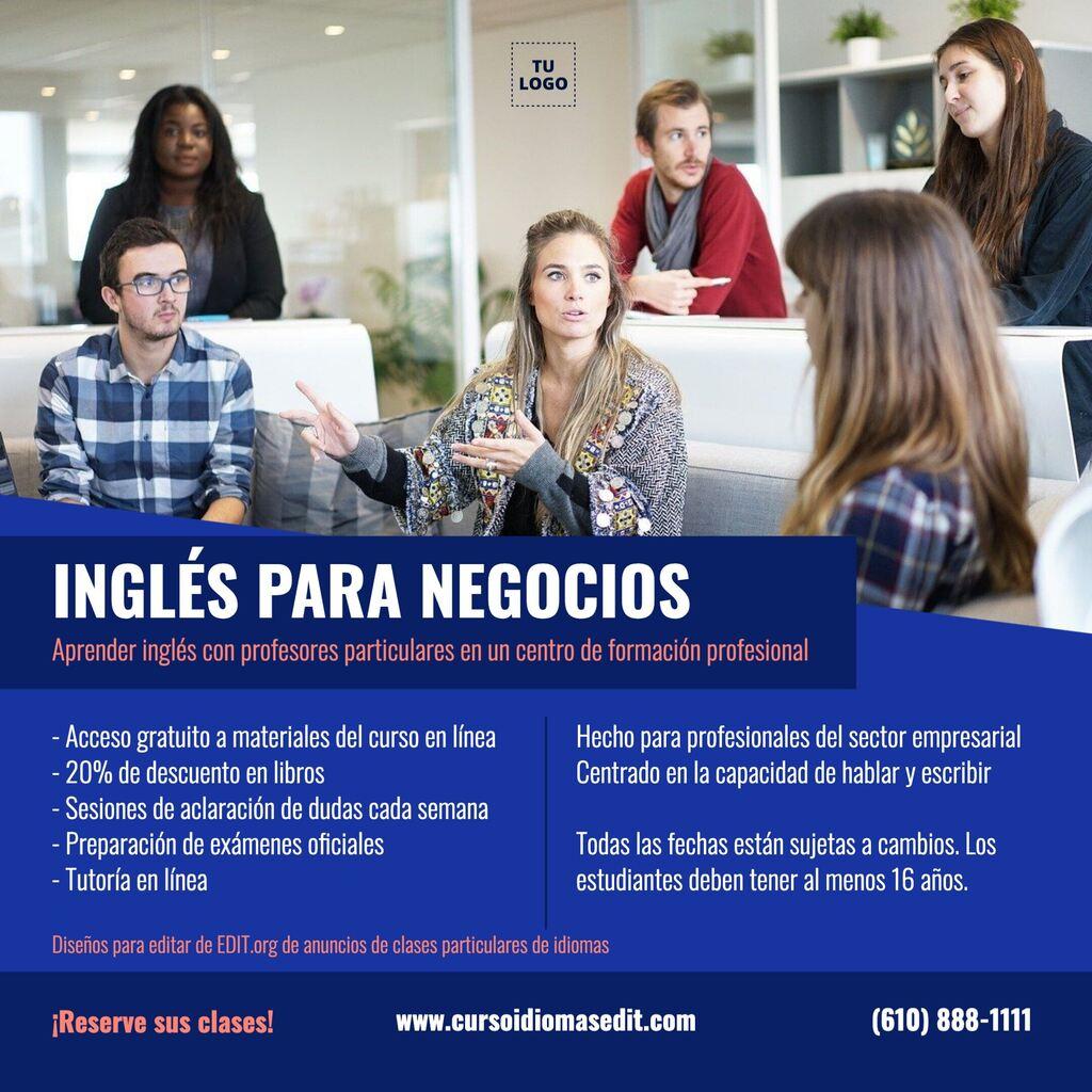 Diseños para anunciar clases y cursos de idiomas gratis