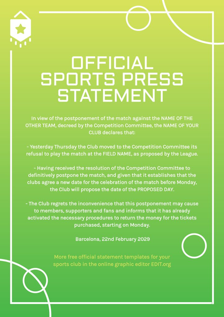 Official sports statement for soccer or tennis to edit online for free