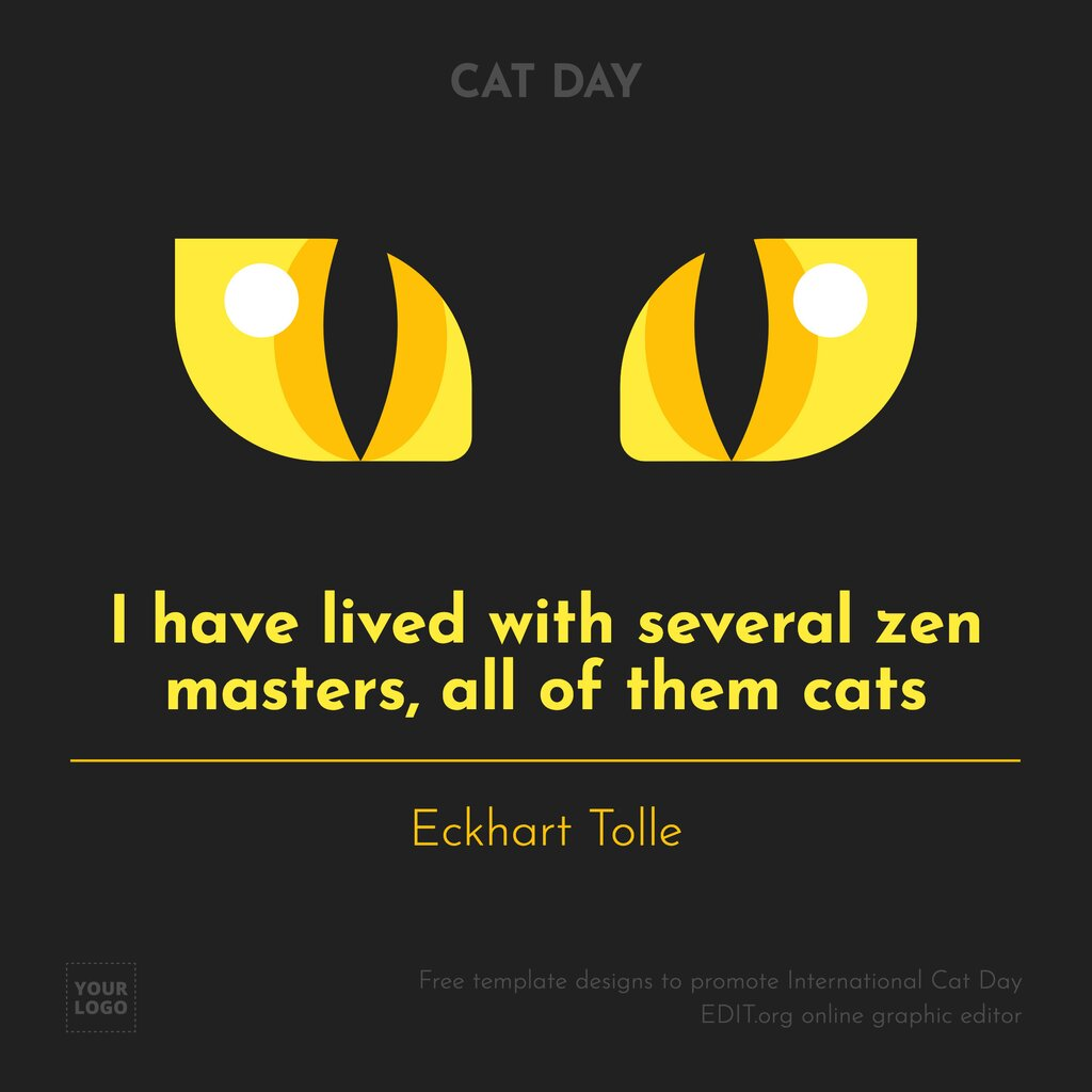 Cat Day quote image template to edit online for free