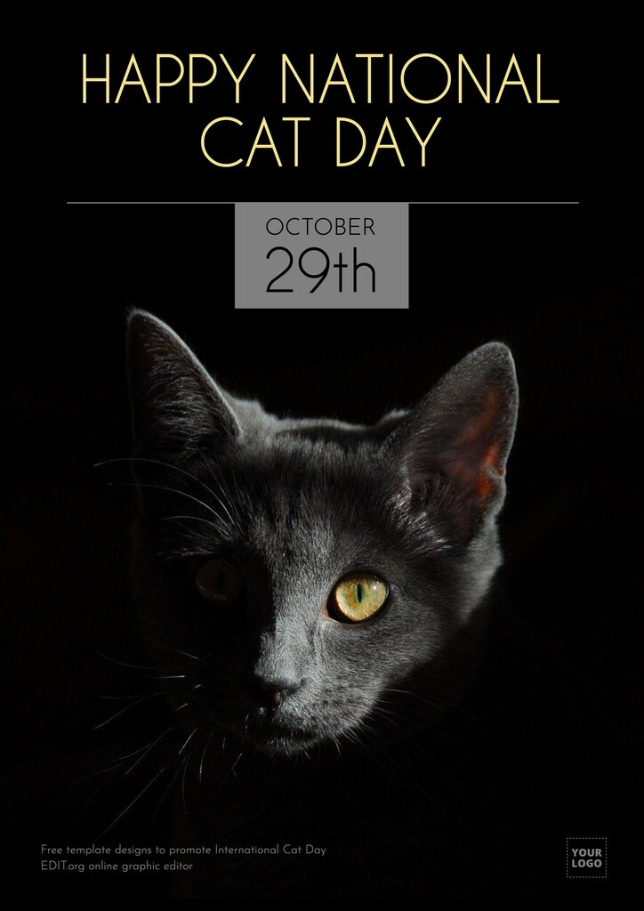 National Cat Day (October 29th) customizable template to edit online