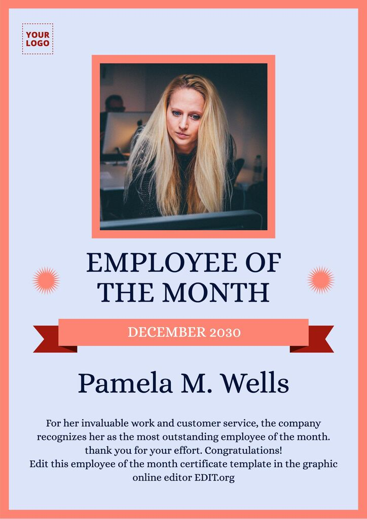 Employee of the month certificate sign template to edit online for free