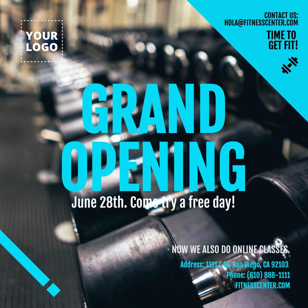 Grand opening. Square invitation gym template to edit