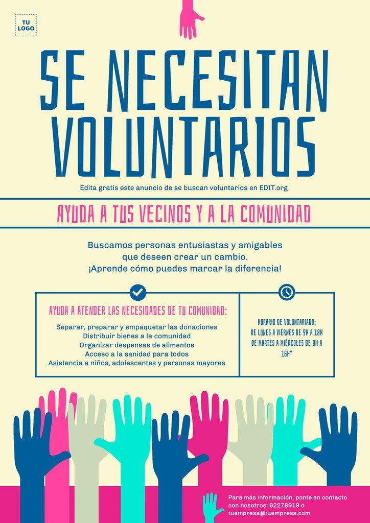 Carteles y folletos de se buscan voluntarios