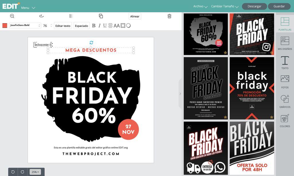 Editor grafico online con carteles de Black Friday