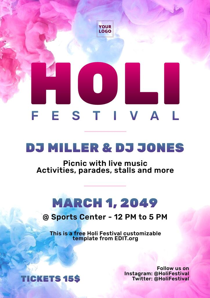 Holi poster maker with free editable templates