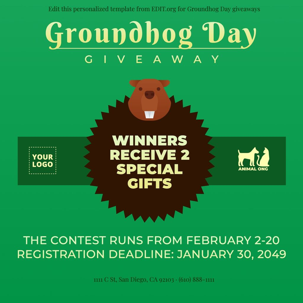 Customizable design for Groundhog Day posters and flyers for businesses
