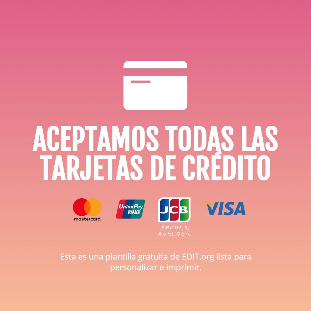 Cartel personalizable para informar de metodos de pago aceptados