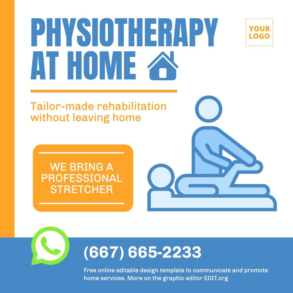 Physiotherapist templates to promote home service. Edit it online for free.