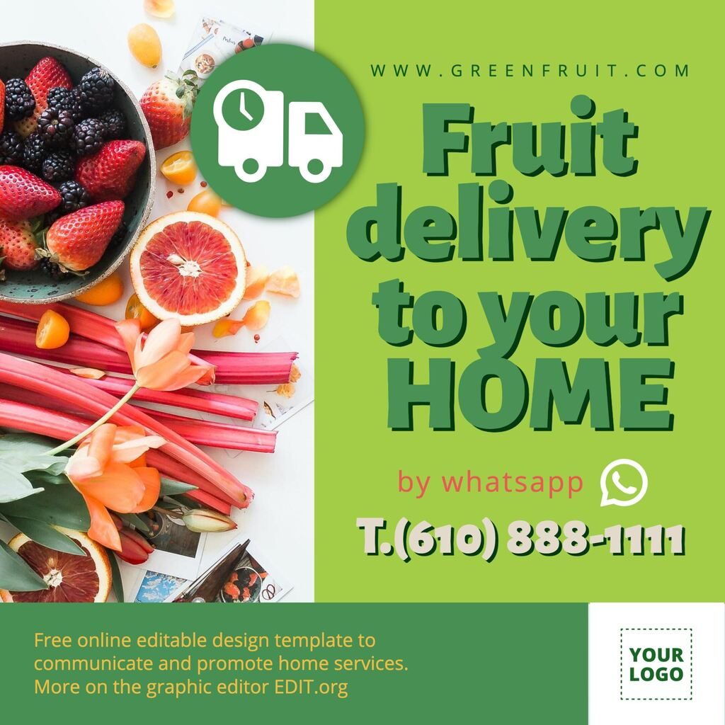 Grocery delivery banner template to custom online