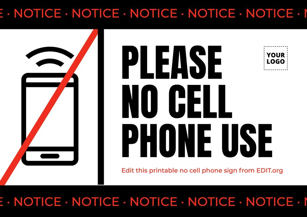 Cell phone prohibited sign to edit online