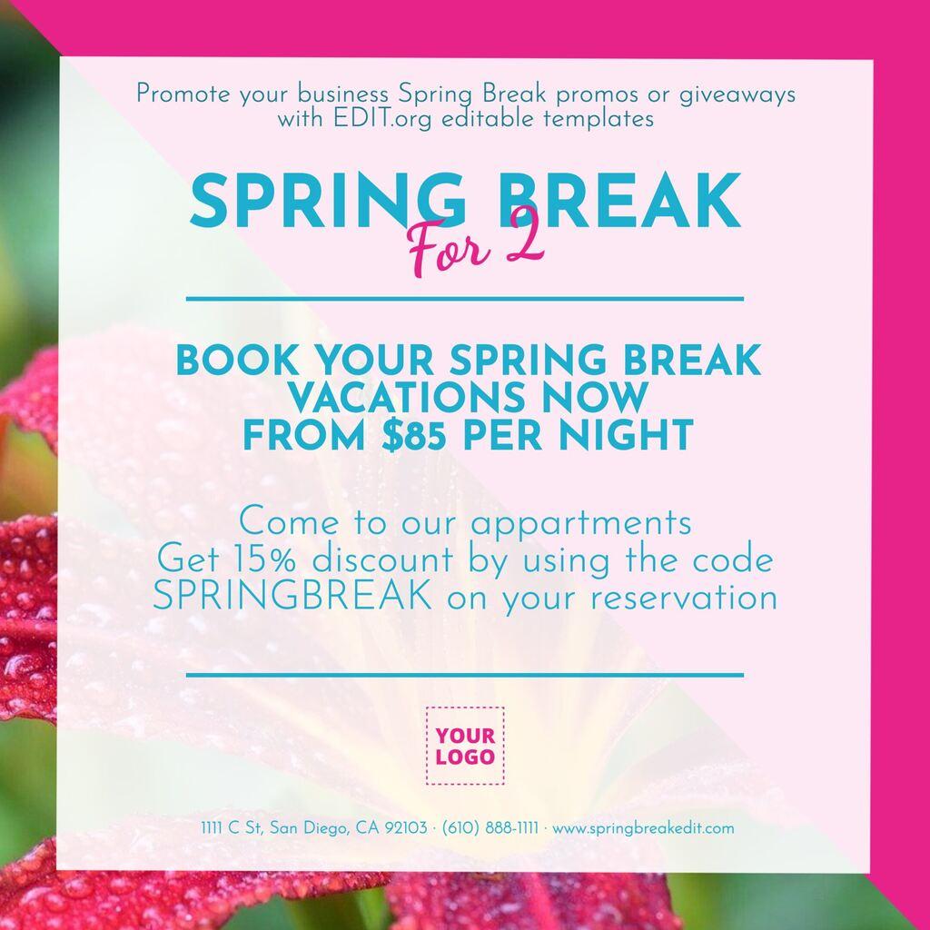 Customizable template for business spring break deals
