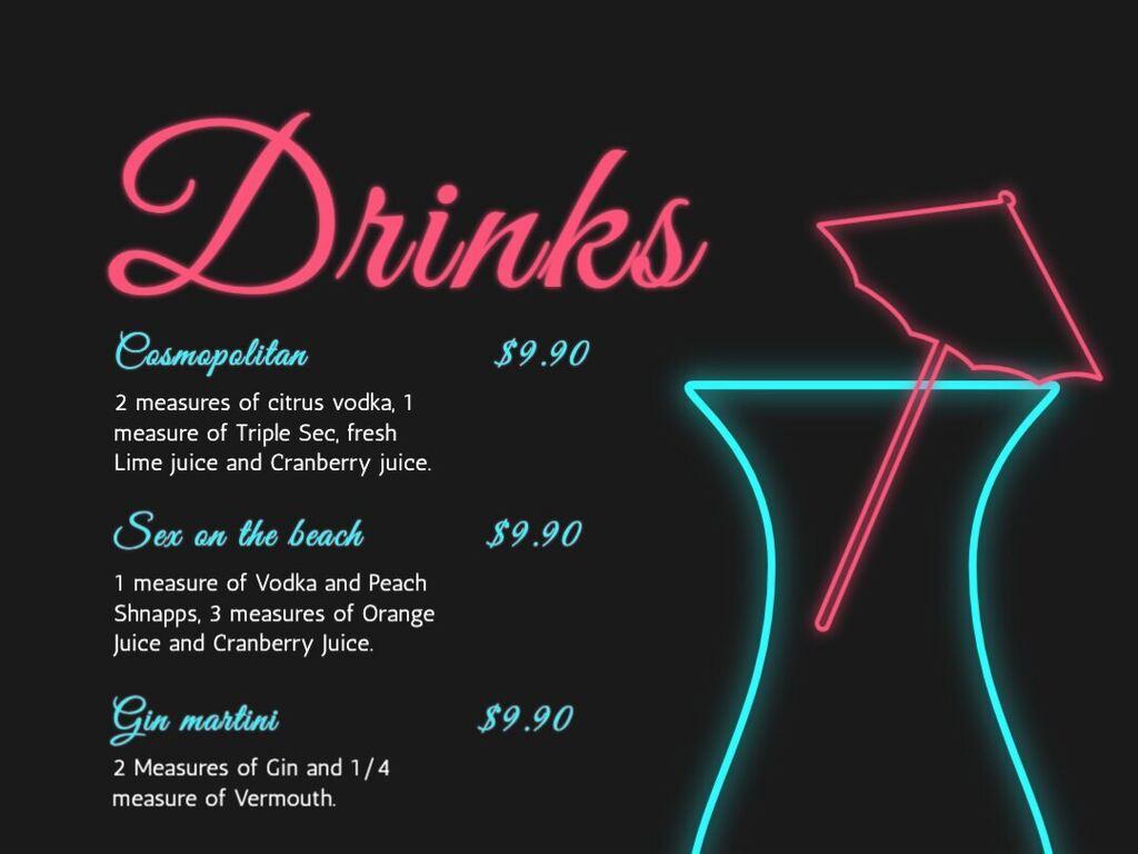 Templates for a drink menu Regarding Cocktail Menu Template Word Free