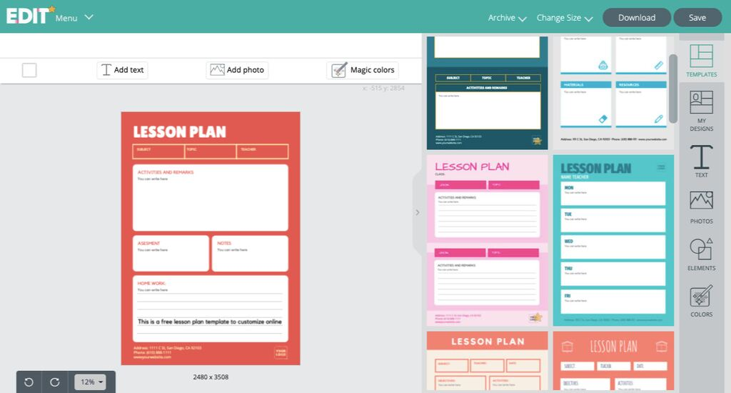 Daily lesson plan template editable online for schools
