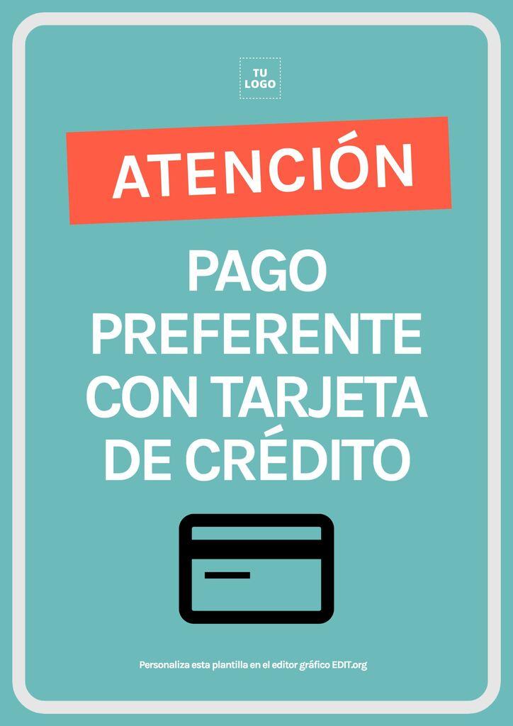 Cartel pago tarjeta preferente con tarjeta para editar gratis