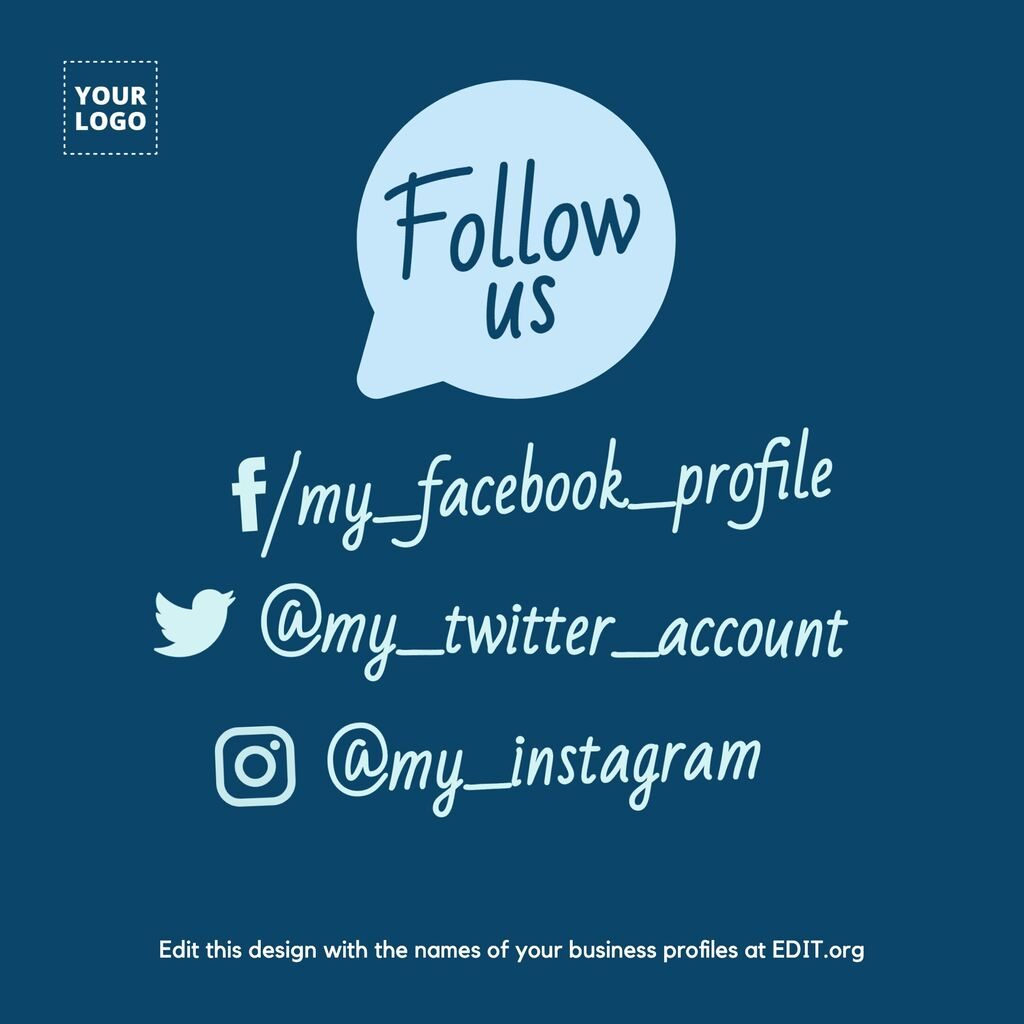 Follow us design to edit and have real followers