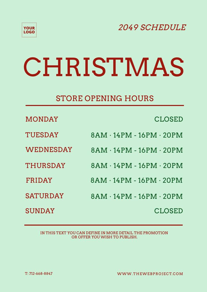 Schedule template for stores timetable to edit online and for free