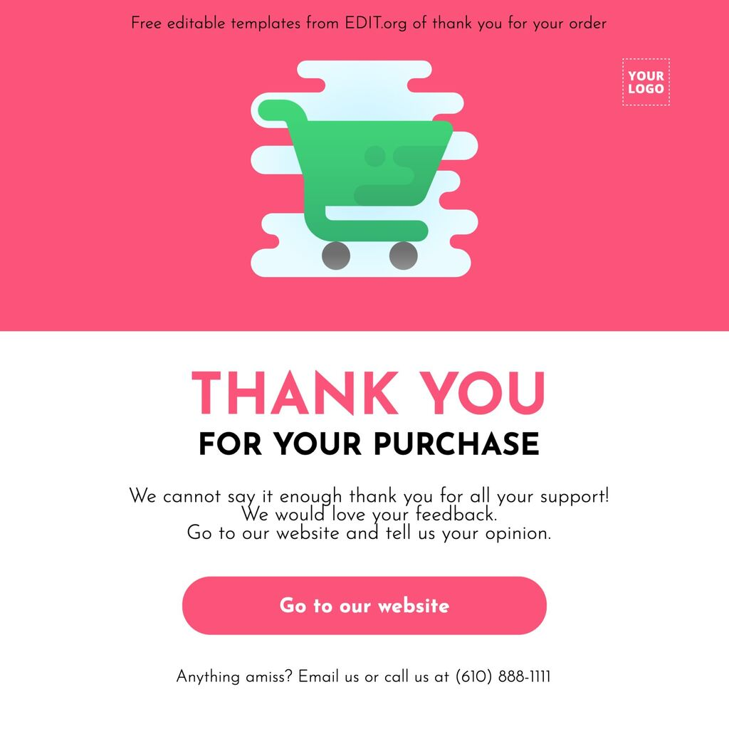 Customizable thanks for your order template to print