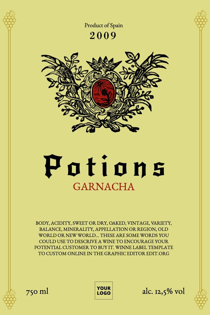 Wine label to edit online for free
