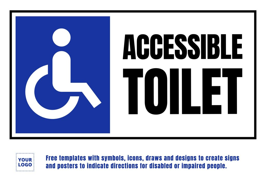 Sign for accessible Bathroom for disabled to edit online for free