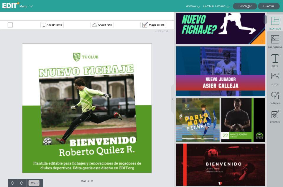 Editor grafico online con plantillas de diseños para comunicar nuevos fichajes, renovaciones y presentaciones de jugadores