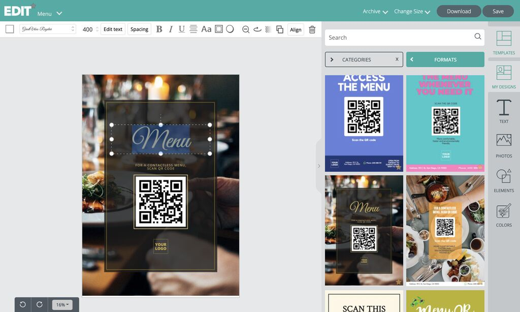 Templates editor to put your menu QR codes in great designs
