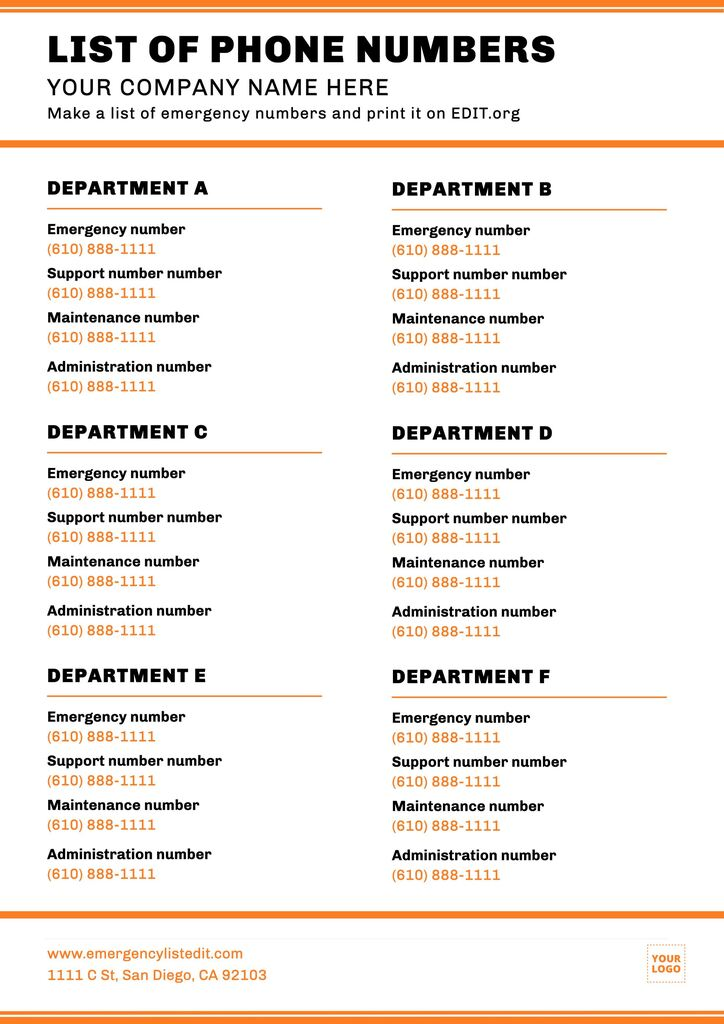 Emergency contact details template to customize and print