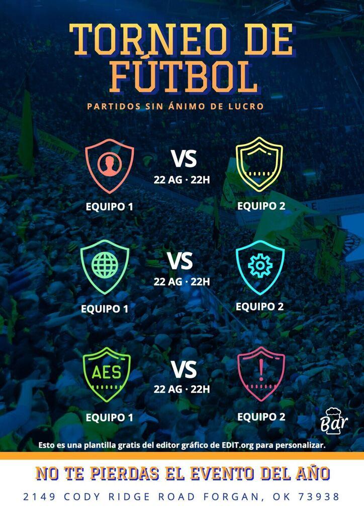 Plantilla gratis torneo de futbol editable online