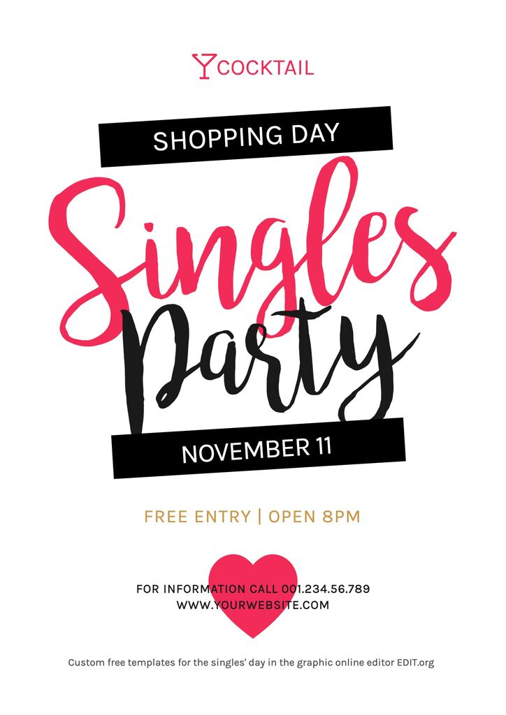 Singles day template for parties editable online for free