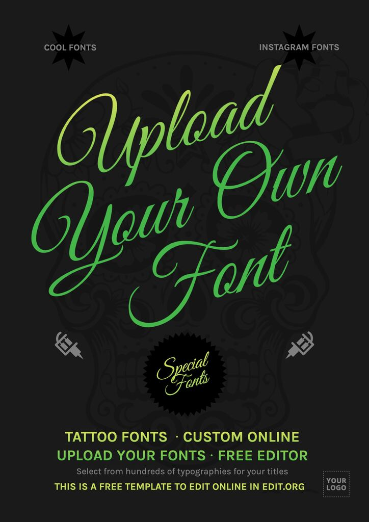Upload your own fonts online to design with templates