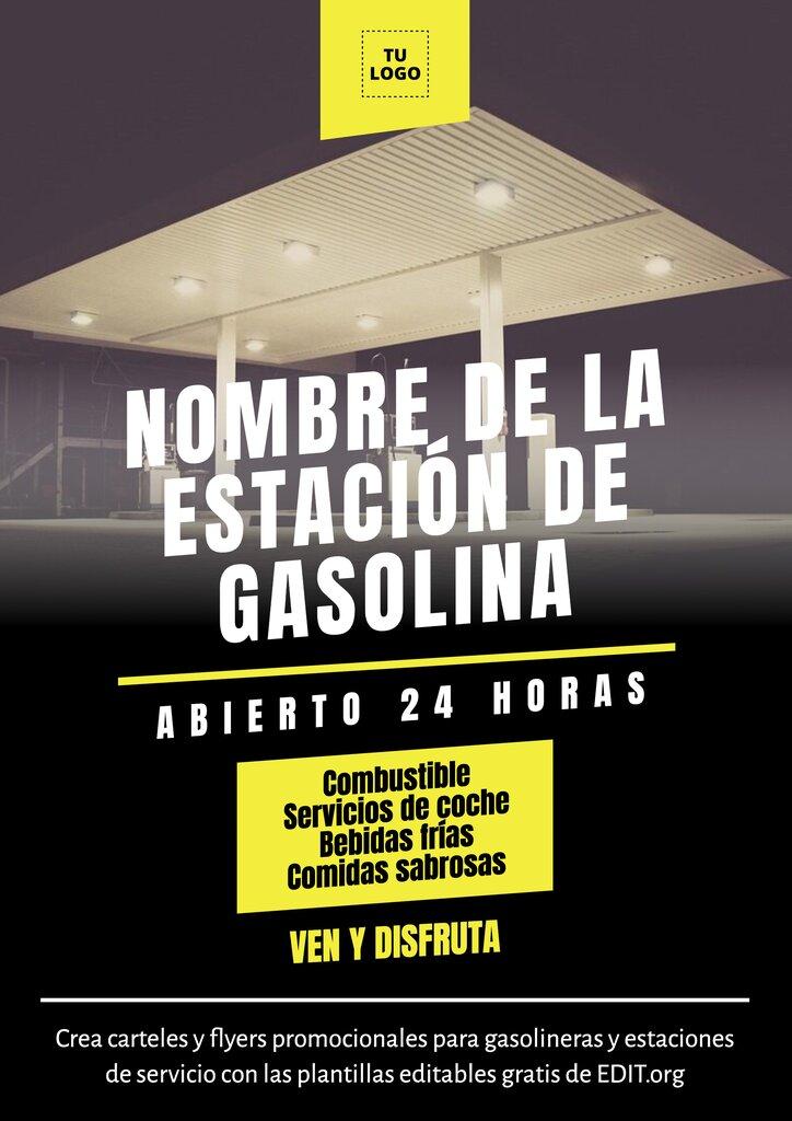 Plantilla de poster editable para promocionar una gasolinera