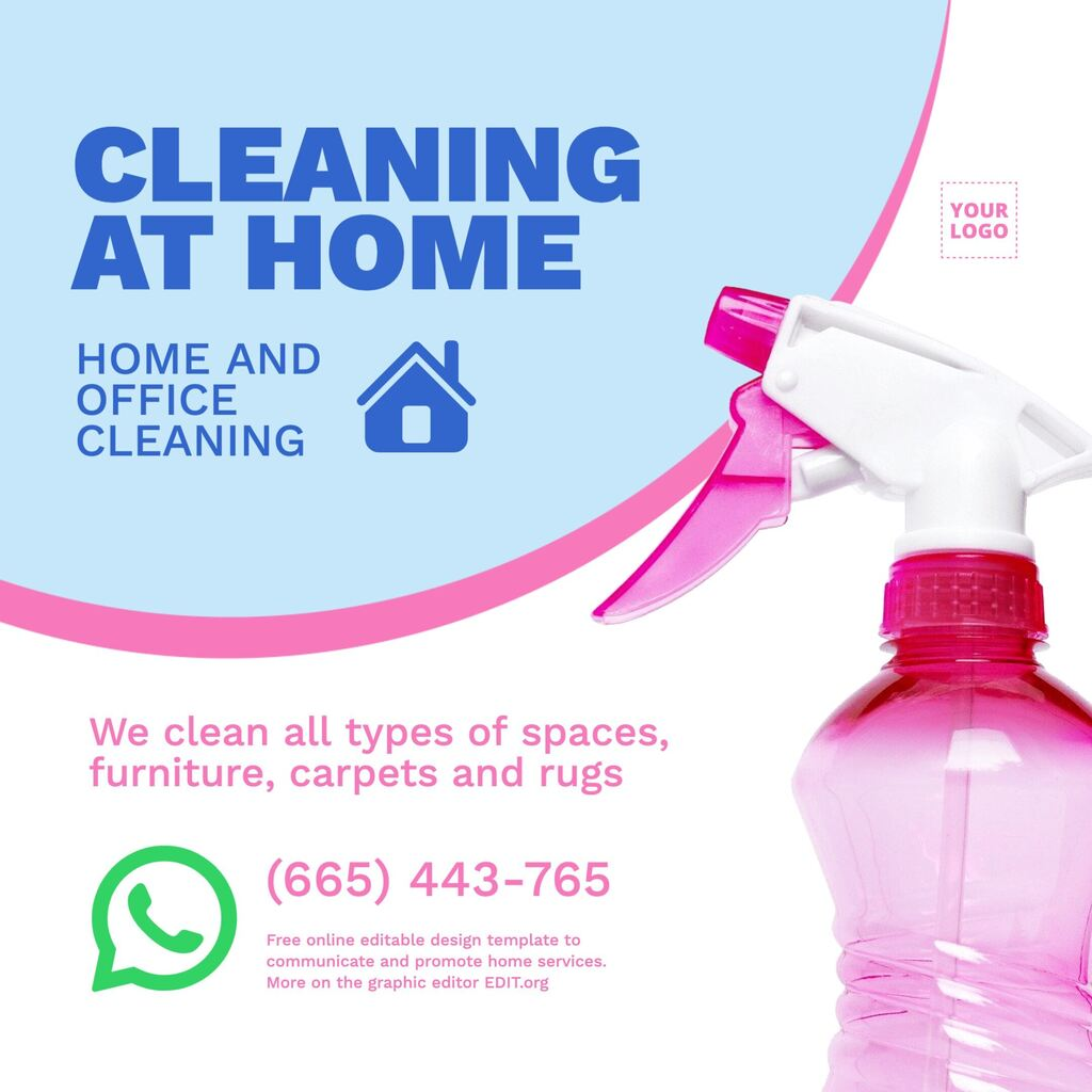 Cleaning home service banner template editable online