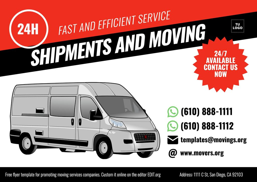 Movings and removals services flyer template to customize online
