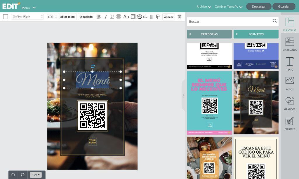 Editor plantillas diseños con código QR para menús y otros negocios