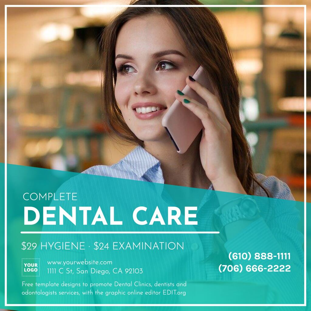 Editable online template for dentist clinic design with contact