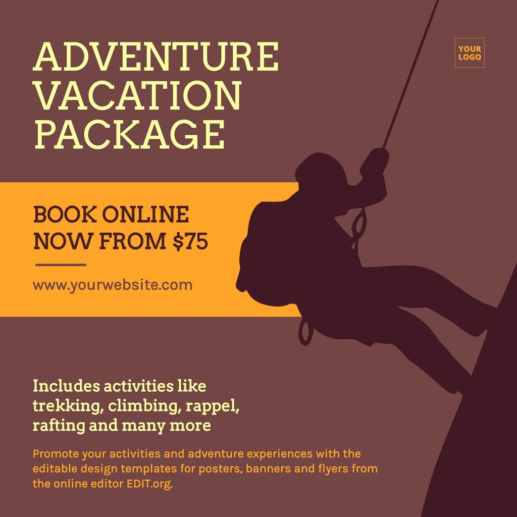Squared editable banner to custom online for free and promote activities and adventure experiences