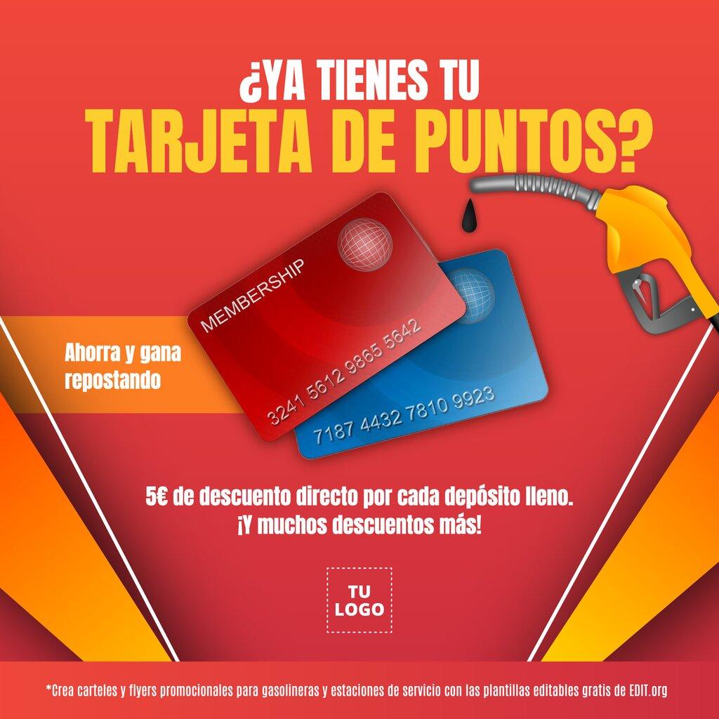 Plantilla de diseño par promocionar la tarjeta de puntos de tu gasolinera en formato banner o flyer