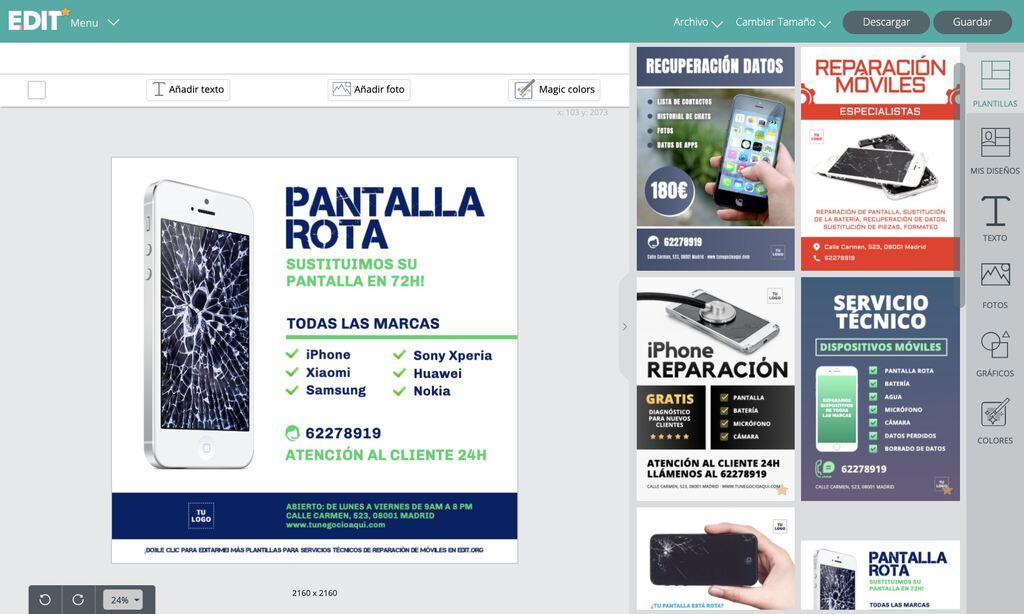 Editor online de plantillas para tiendas de reparación de móviles, celulares y computadoras gratis