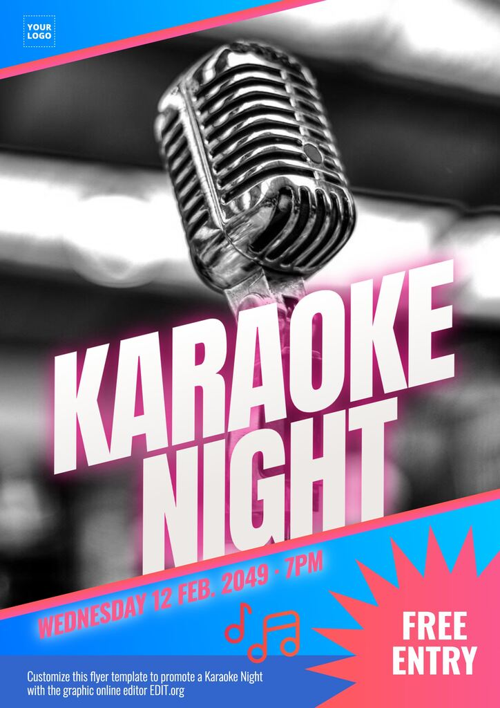 Editable free flyer template to promote a Karaoke online