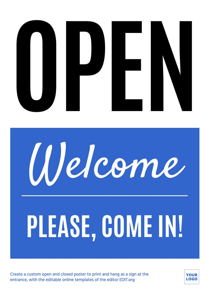 Welcome, we're open, editable sign template to customize online, download for free, print and hang