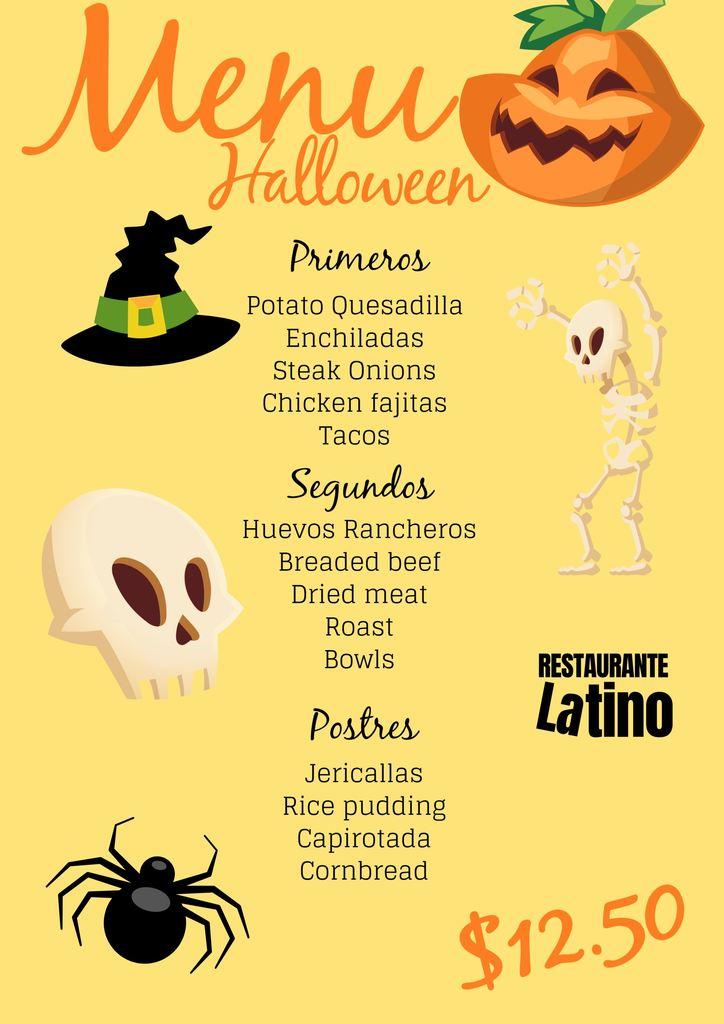 menus de resturante para halloween