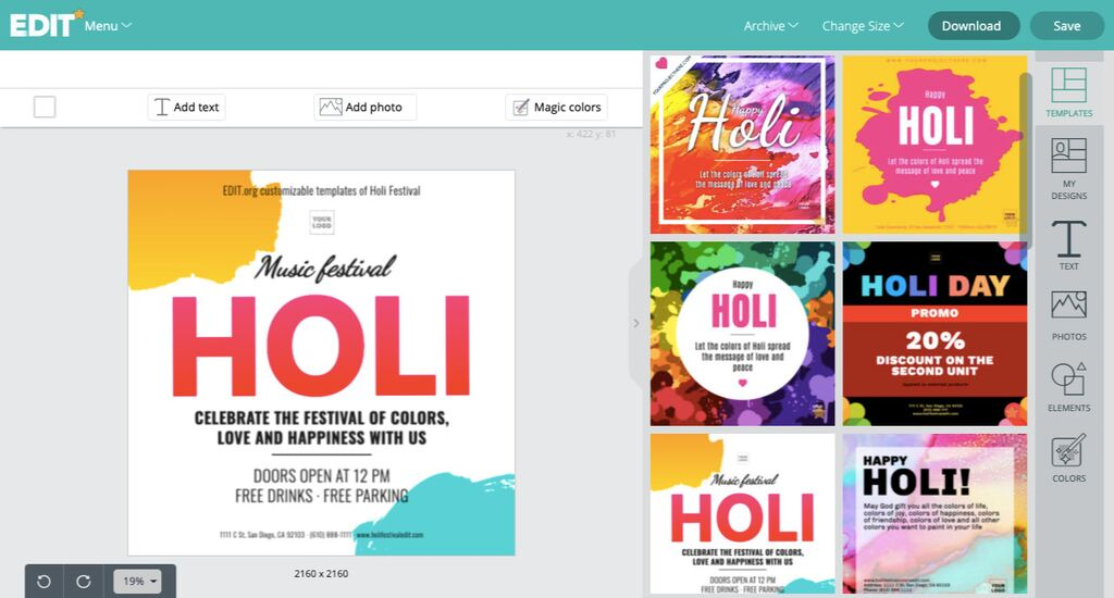 Customizable and free Holi Festival templates for businesses