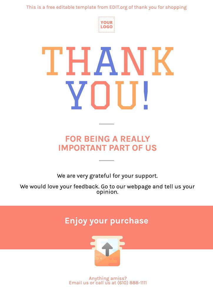 Editable cards for thank you for supporting this small business