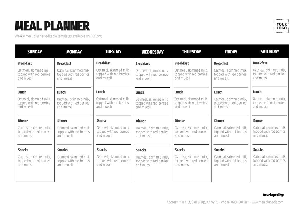 Family meal planner template to customize